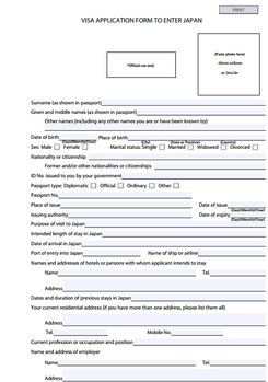 Form for Japan Passport
